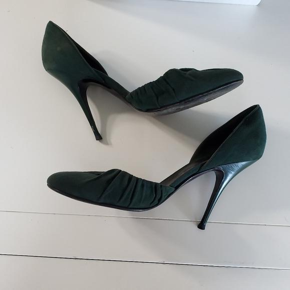 Balenciaga Green Suede Stiletto Heels